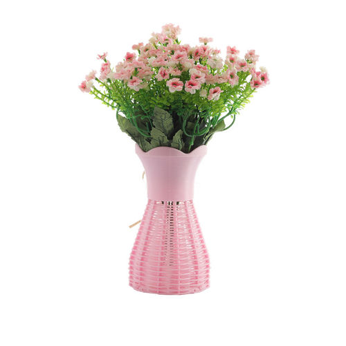 FOLIYAJ Set of 2 Green & Pink Artifical Flower Bunches With 1 Vase
