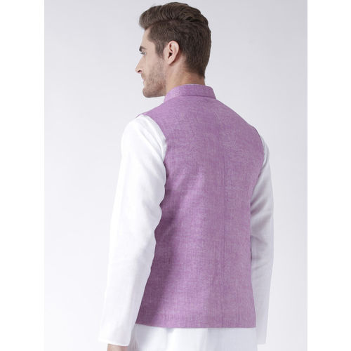 Hangup Men Purple Woven Linen Blend Nehru Jacket
