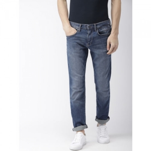 Tommy Hilfiger Men Blue Straight Sutton Fit Mid-Rise Clean Look Stretchable Jeans