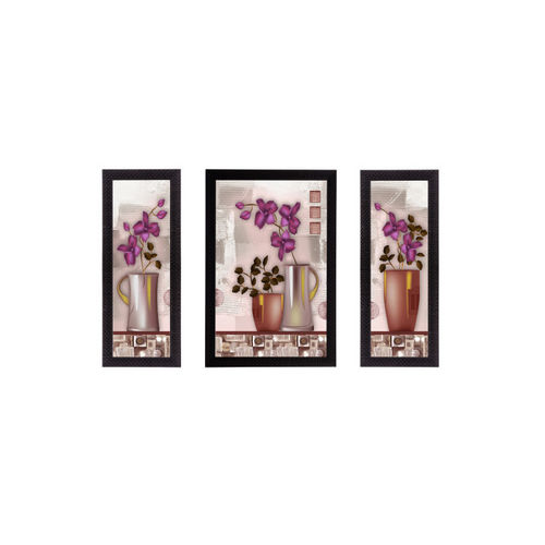 eCraftIndia Set of 3 Multicoloured Floral UV Wall Arts