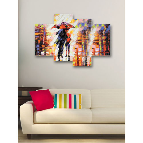 eCraftIndia Set of 4 Multicoloured Lovely Couple Canvas Wall Art