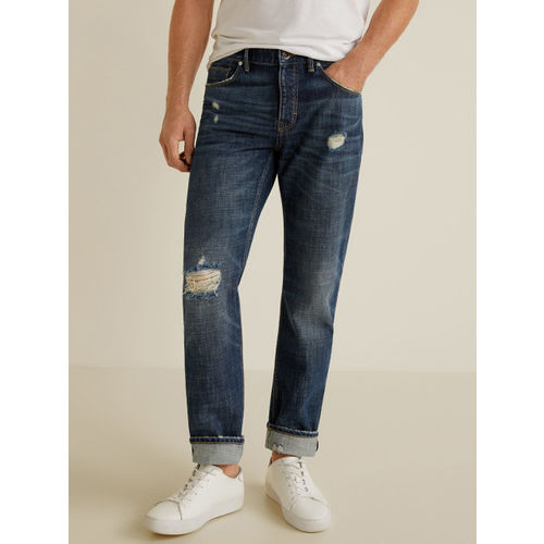 MANGO MAN Men Navy Blue Straight Fit Mid-Rise Low Distress Jeans