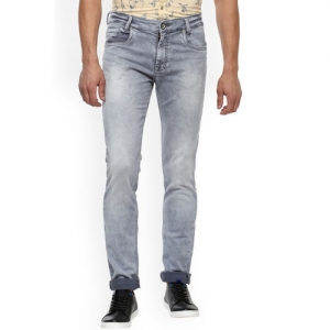 Mufti Men Grey Straight Fit Mid-Rise Clean Look Stretchable Jeans