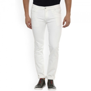 Mufti Men White Straight Fit Mid-Rise Clean Look Stretchable Jeans