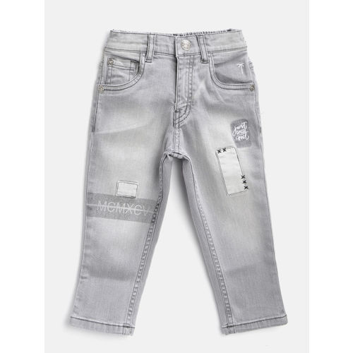 Palm Tree Boys Grey Washed Mid-Rise Clean Look Stretchable Jeans