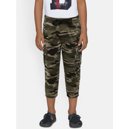 Palm Tree Boys Olive Green Regular Fit Camouflage Cargos