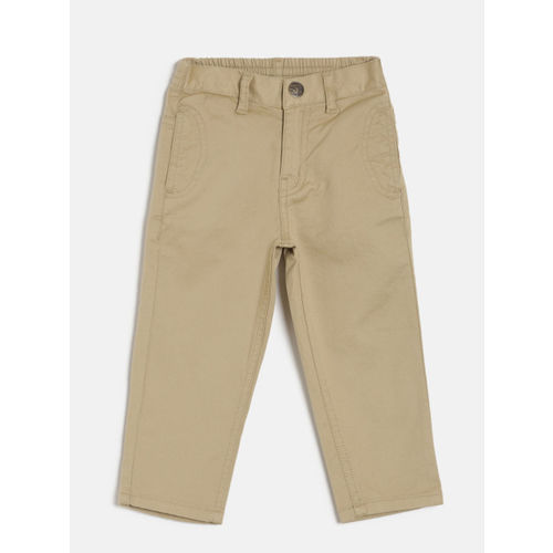 Palm Tree Boys Beige Solid Regular Trousers