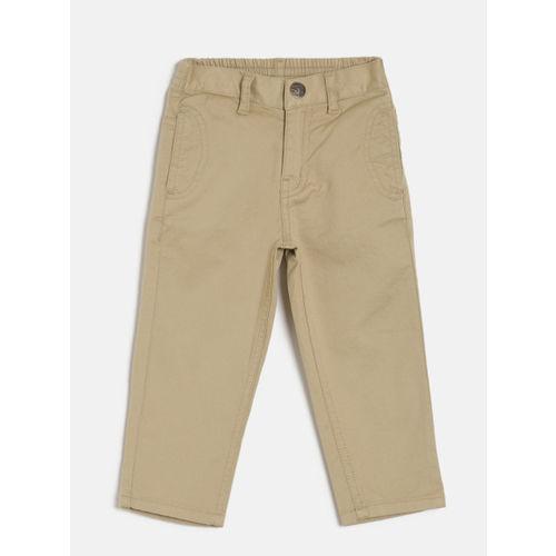 Palm Tree Boys Beige Solid Regular Trousers