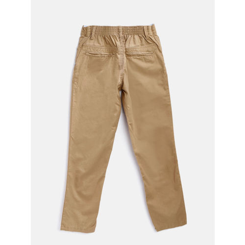 Palm Tree Boys Brown Regular Fit Solid Trousers