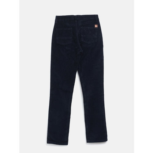 Palm Tree Boys Navy Blue Regular Fit Solid Corduroy Trousers