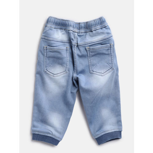 Palm Tree Boys Blue Joggers Fit Mid-Rise Low Distress Stretchable Jeans