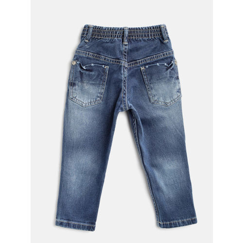Palm Tree Boys Navy Blue Regular Fit Mid-Rise Mildly Distressed Stretchable Jeans