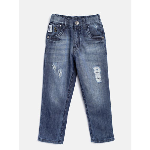 Palm Tree Boys Blue Regular Fit Mid-Rise Low Distress Jeans