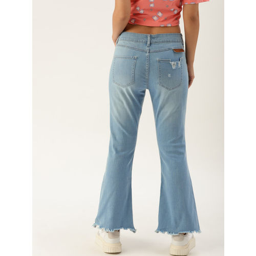 United Colors of Benetton Women Blue Bootcut Mid-Rise Mildly Distressed Stretchable Jeans