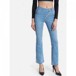 Kazo Women Blue Bootcut Mid-Rise Clean Look Stretchable Jeans