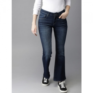 Moda Rapido Women Navy Blue Bootcut High-Rise Clean Look Stretchable Jeans
