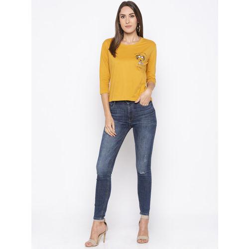 Globus Women Yellow Printed Round Neck T-shirt