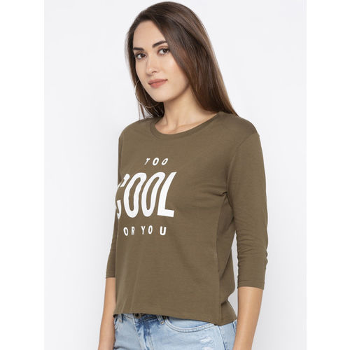 Globus Women Olive Green Printed Round Neck T-shirt