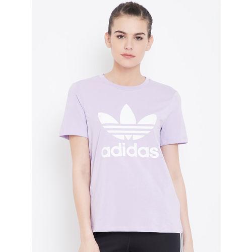 ADIDAS Originals Women Lavender Printed Trefoil T-shirt