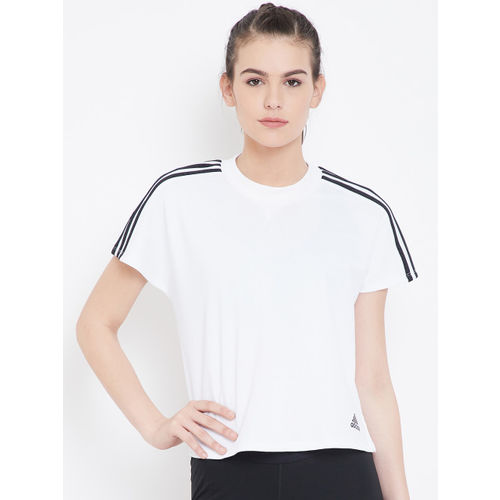ADIDAS Women White Solid ATTEETUDE T-shirt