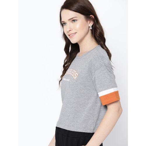 Harvard Women Grey Melange Printed Round Neck T-shirt