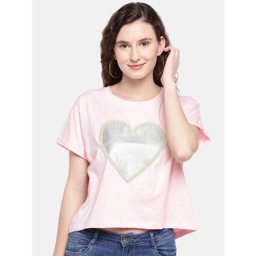 Globus Women Pink Printed Round Neck T-shirt