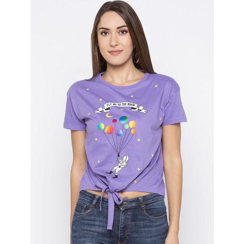Globus Women Purple Printed Round Neck T-shirt
