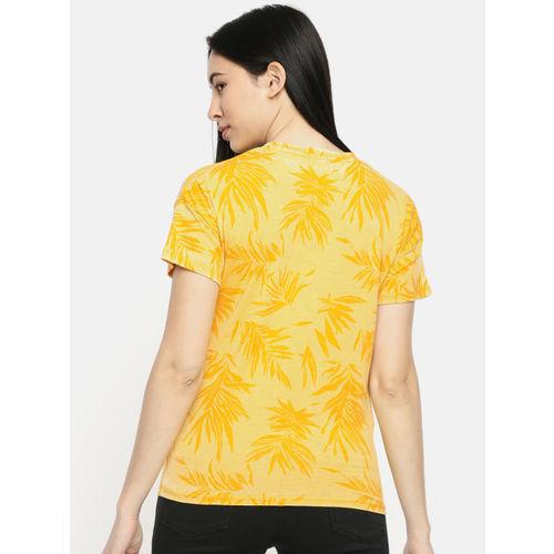 Pepe Jeans Women Yellow Printed Round Neck T-shirt