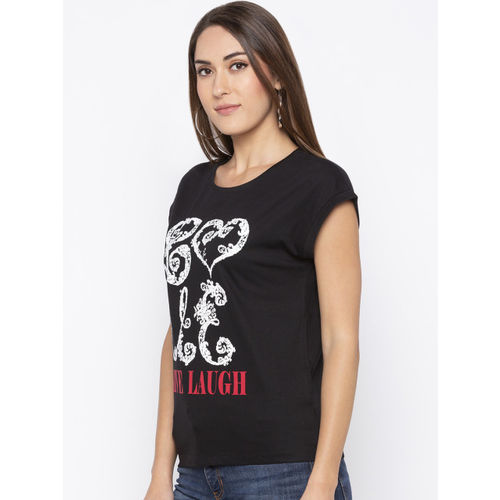 Globus Women Black Printed Round Neck T-shirt