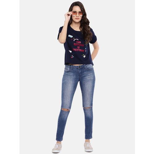 Globus Women Navy Blue Printed Round Neck T-shirt