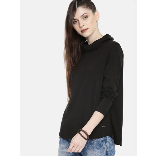 Roadster Women Black Solid Cowl Neck Boxy T-shirt