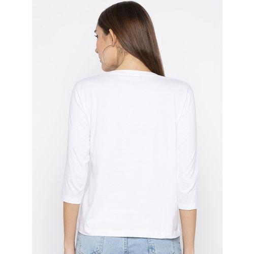 Globus Women White Printed Round Neck T-shirt