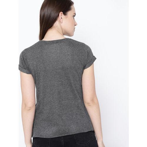 Kook N Keech Women Charcoal Grey Printed Round Neck T-shirt