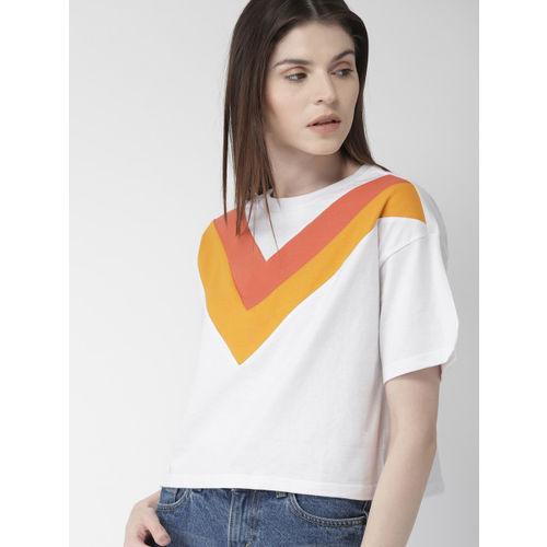 FOREVER 21 Women White & Orange Striped Round Neck Boxy T-shirt