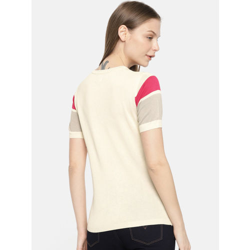 Pepe Jeans Women Beige & Grey Printed Round Neck T-shirt