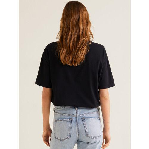 MANGO Women Black Printed Round Neck T-shirt