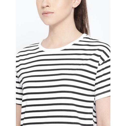 Harvard Women White & Black Striped Round Neck T-shirt
