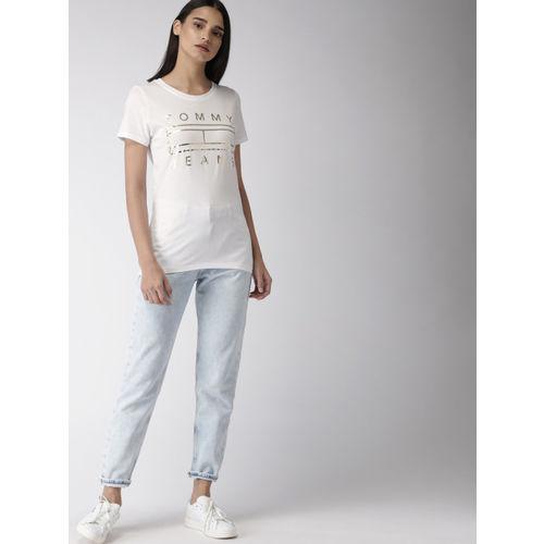 Tommy Hilfiger Women White Printed Round Neck T-shirt