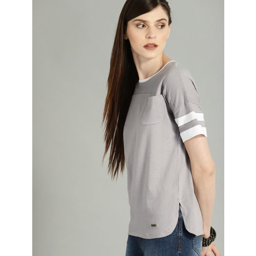 Roadster Women Grey Solid Round Neck T-shirt