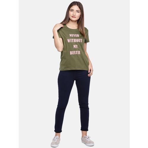 Globus Women Olive Green Printed Round Neck T-shirt