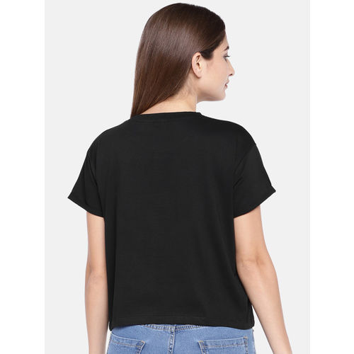 Globus Women Black Printed Round Neck T-shirt