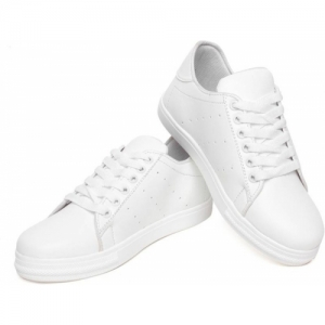 KELEMON White Synthetic Lace-up Casual Shoes