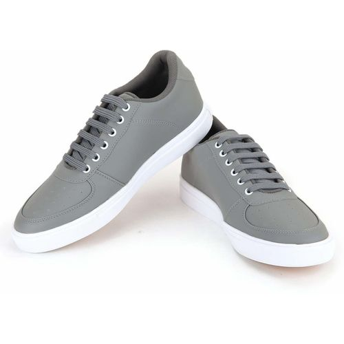 MEGPAR Black Grey Casual Canvas Latest Collection Lace Up Shoes Sneakers For Men(Grey)