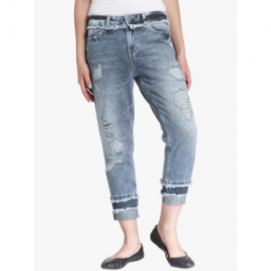ONLY Blue Regular Fit Mid-Rise Highly Distressed Jeans
