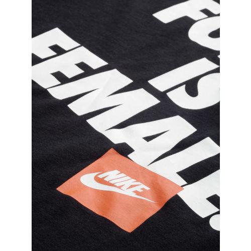 Nike Women Black & White Printed Standard Fit Round Neck FORCE FS Sports T-shirt