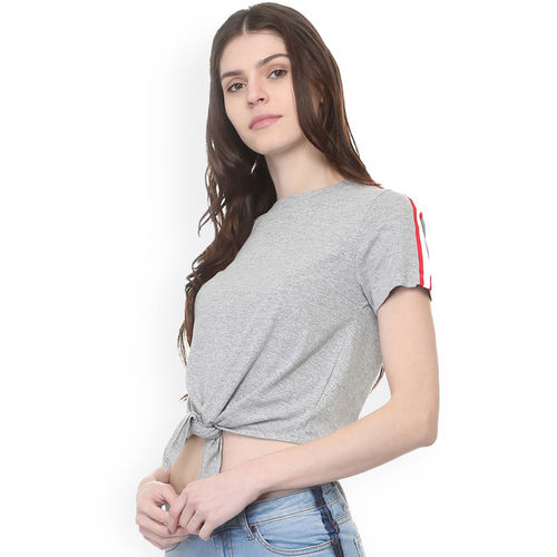 People Women Grey Solid Round Neck T-shirt