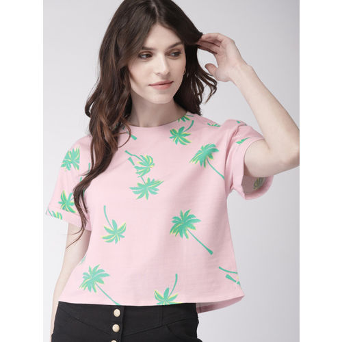 FOREVER 21 Pink & Green Printed Round Neck T-shirt
