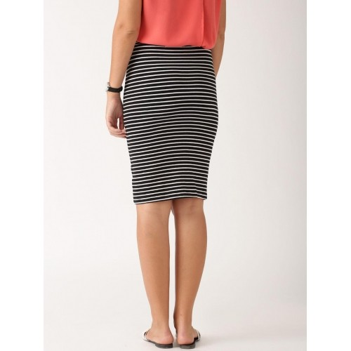 ETHER Black & White Striped Pencil Skirt