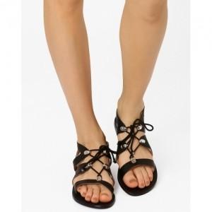 882133528 Buy Black AJIO Gladiator Flat Sandals For Women online