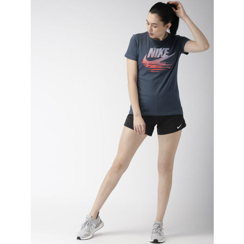 Nike Women Navy Blue Printed Standard Fit AS W NSW Round Neck T-shirt